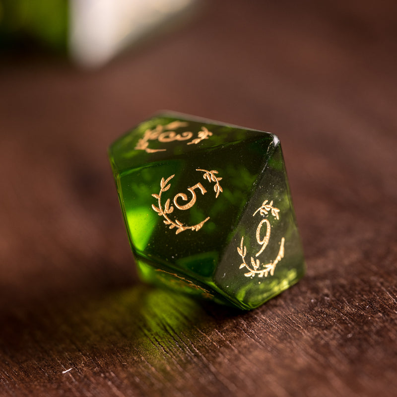 URWizards Dnd Peridot Glass Engraved Dice Set Plant Vine Style - Urwizards