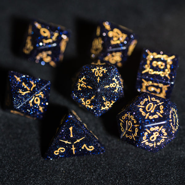 URWizards Dnd Blue Sandstone Gemstone Engraved Dice Set Dagger Rogue Style - Urwizards