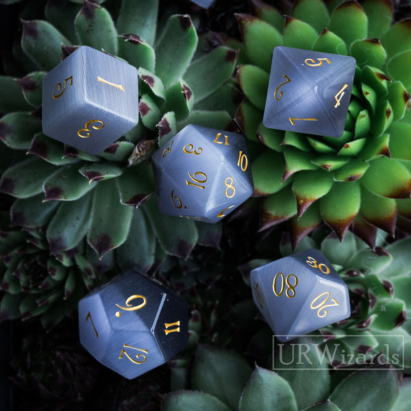 URWizards Dnd Grey Cat's Eye Engraved Dice Set Moon Style - Urwizards