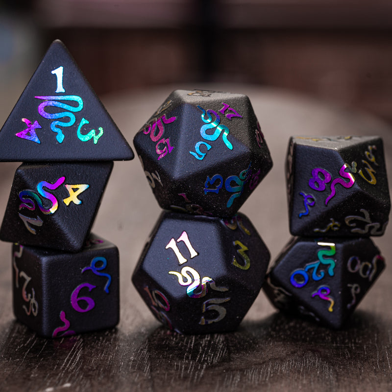 URWizards Obsidian Raised Holographic Number Dice Set Serpent Style - Urwizards