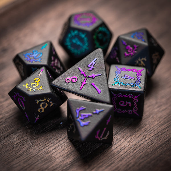 URWizards Obsidian Raised Holographic Number Dice Set DaggerStyle - Urwizards