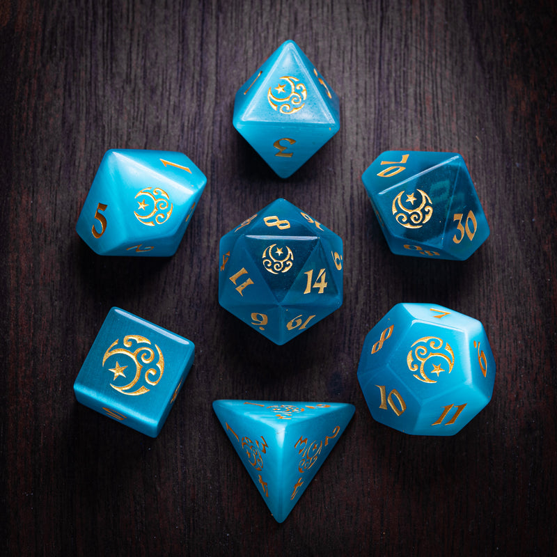 URWizards Dnd Aqua Cat's Eye Engraved Dice Set Moon Star Style - Urwizards