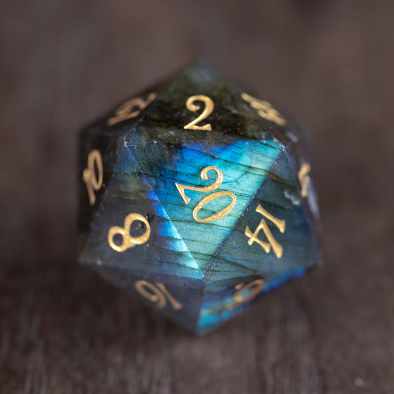 URWizards Dnd Engraved labradorite D20 Dice - Urwizards