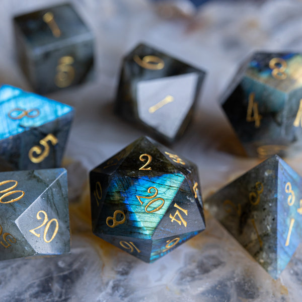 URWizards Dnd Labradorite Gemstone Engraved Dice Set - Urwizards