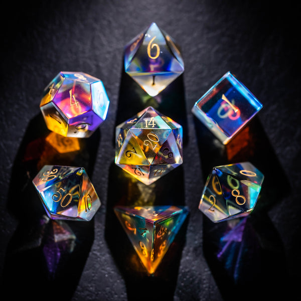 URWizards Dnd Dichroic Prism Glass Gemstone Engraved Dice Set - Urwizards