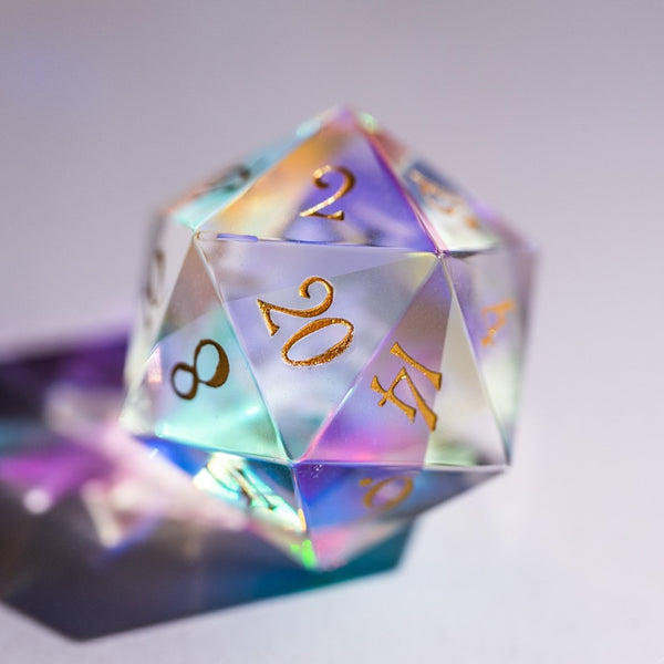 URWizards Dnd Engraved Dichroic Prism  Glass D20 Dice - Urwizards