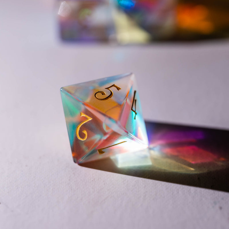 URWizards Dnd Dichroic Prism Glass Dice Set UwU & T_T - Urwizards