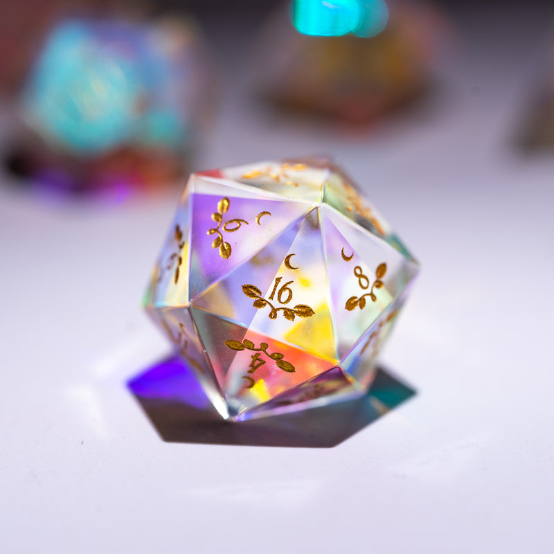 URWizards Dnd Dichroic Prism  Glass Engraved Dice Set Plant Vine Style - Urwizards