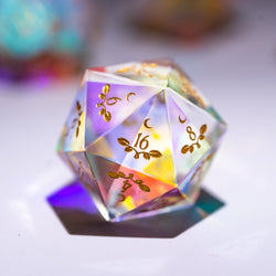 URWizards Dnd Dichroic Prism  Glass D20 Dice Plant Vine Style - Urwizards
