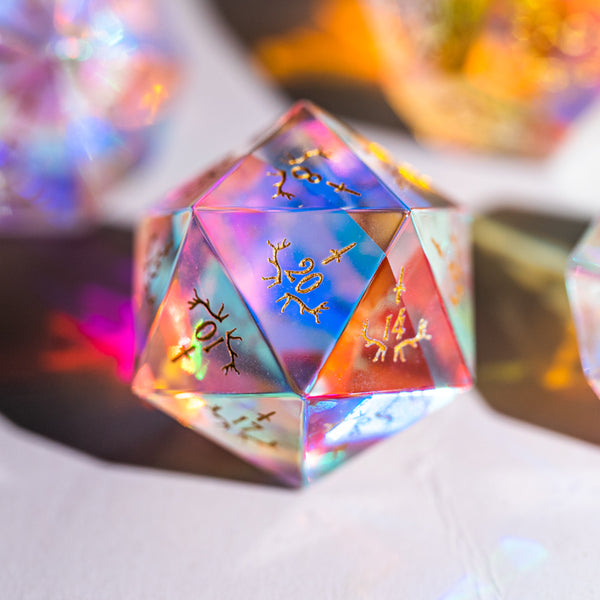 URWizards Dnd Engraved Dichroic Prism  Glass D20 Dagger Style - Urwizards