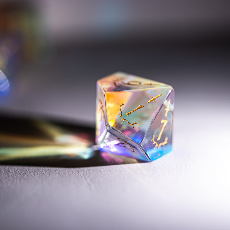 URWizards Dnd Dichroic Prism  Glass Engraved Dice Set Dagger Rogue Style - Urwizards