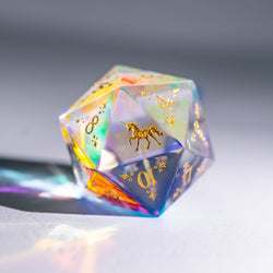 URWizards Dnd Dichroic Prism  Glass D20 Dice Unicorn Style Gold Inked - Urwizards