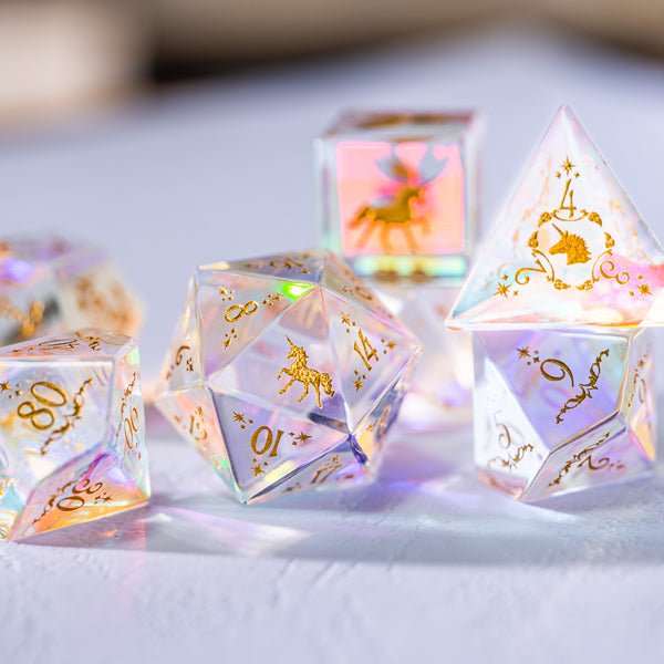 URWizards Dnd Dichroic Glass Engraved Dice Set Unicorn Style - Urwizards