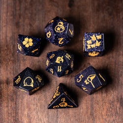 URWizards Dnd Blue Sandstone Engraved Dice Set Animal Crossing Style - Urwizards