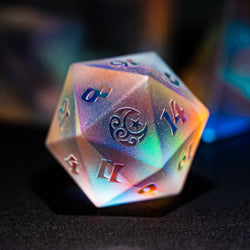 URWizards Dnd Dichroic Prism  Glass Raised D20 Moon & Star - Urwizards