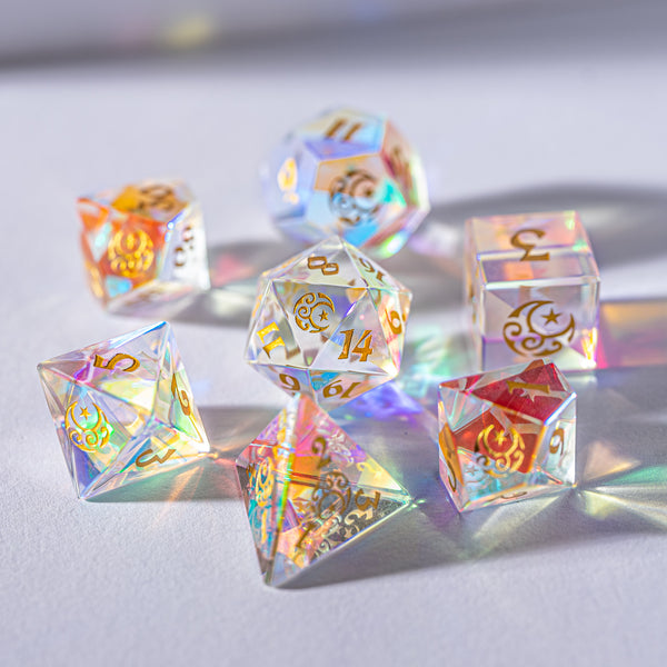 URWizards Dnd Dichroic Glass Gemstone Engraved Dice Set Moon & Star - Urwizards