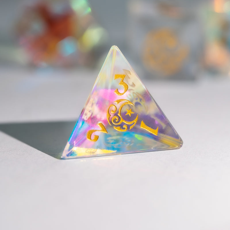 URWizards Dnd Dichroic Prism  Glass Gemstone Engraved Dice Set Moon & Star - Urwizards