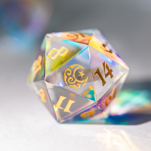 URWizards Dnd Engraved Dichroic Prism  Glass D20 Dice Moon & Star - Urwizards
