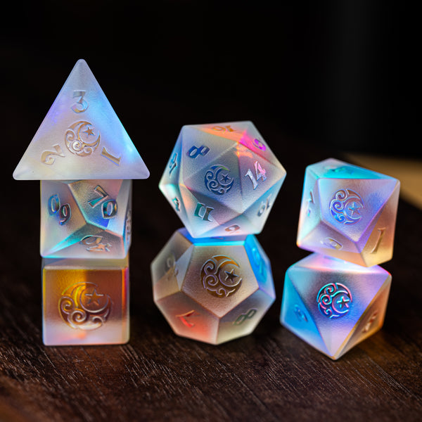 URWizards Dnd Dichroic Glass Raised Dice Set Moon & Star - Urwizards