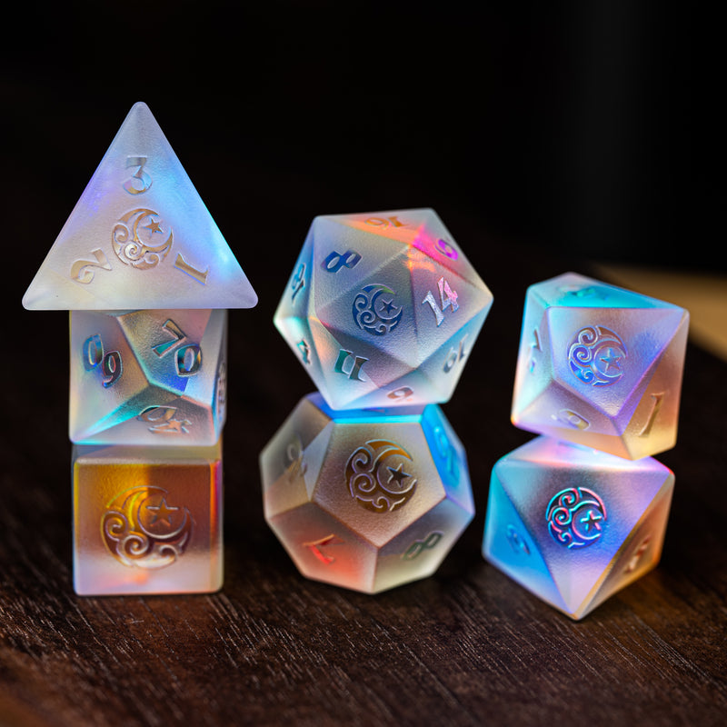URWizards Dnd Dichroic Prism  Glass Raised Dice Set Moon & Star - Urwizards