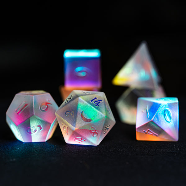 URWizards Dnd Dichroic Prism  Glass Raised Dice Set Cresent Moon - Urwizards