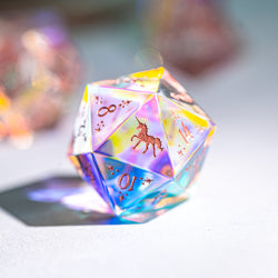 URWizards Dnd Dichroic Prism  Glass D20 Dice Unicorn Style Rose Red Inked - Urwizards