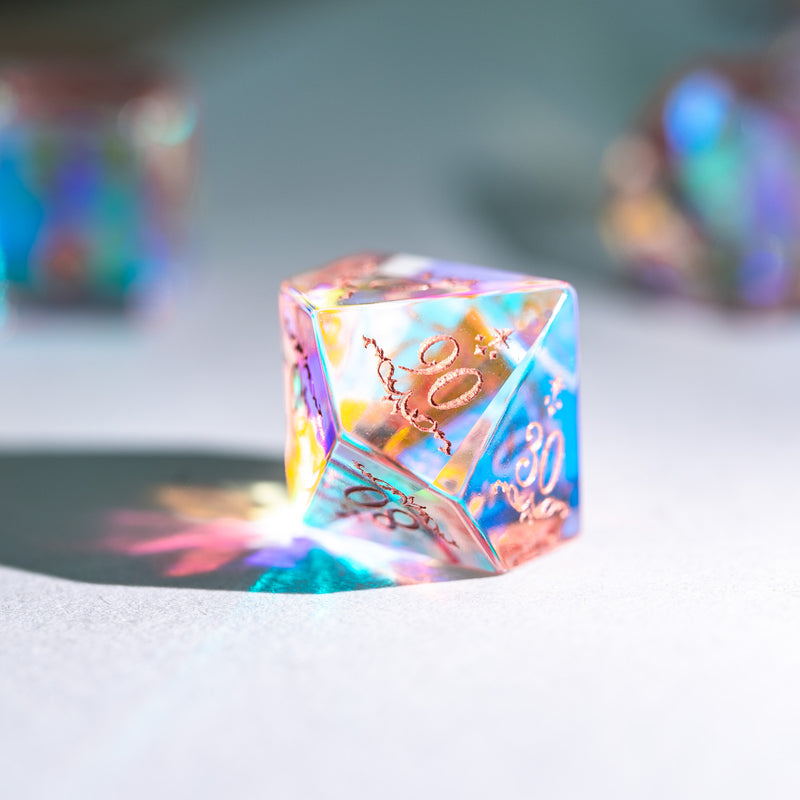 URWizards Dnd Dichroic Prism  Glass Engraved Dice Set Unicorn Style Rose Red Inked - Urwizards