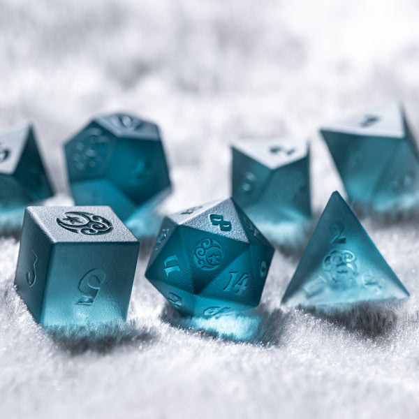 URWizards Dnd Blue Tourmaline Zircon Raised Dice Set Moon Star Style - Urwizards