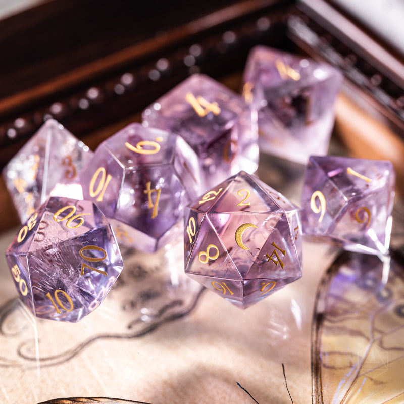 URWizards Dnd Lavender Amethyst Engraved Dice Set Moon Style - Urwizards
