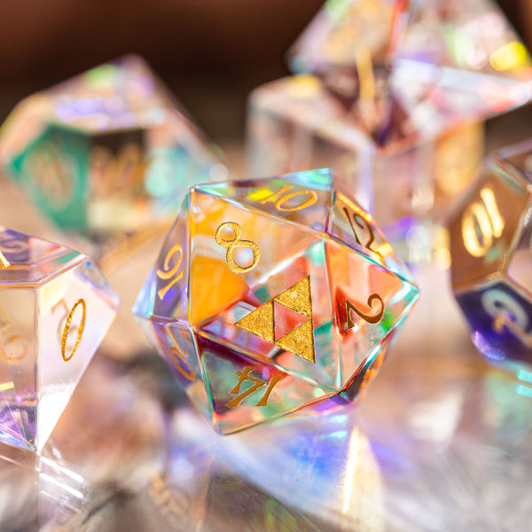 URWizards Dnd Dichroic Prism Glass Gemstone Engraved Dice Set Triforce - Urwizards