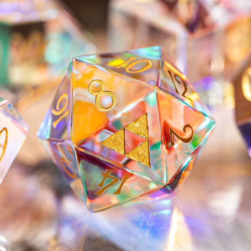 URWizards Dnd Dichroic Prism  Glass D20 Dice Triforce Style - Urwizards