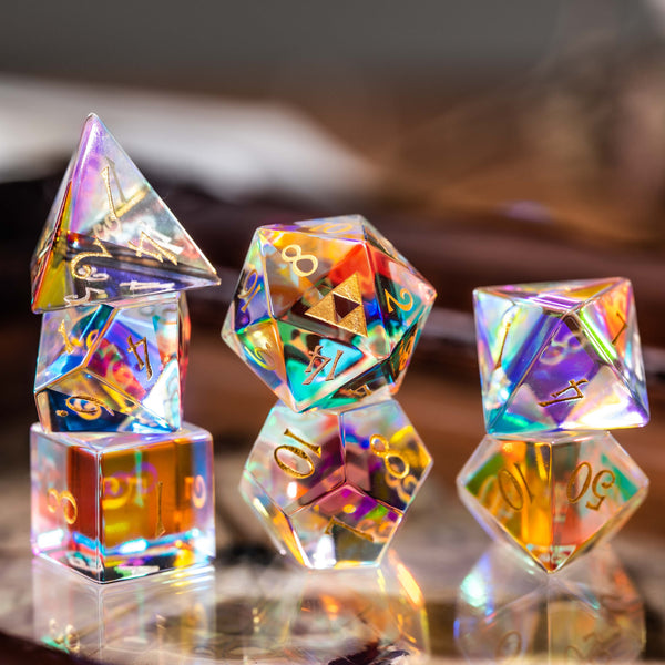 URWizards Dnd Dichroic Glass Gemstone Engraved Dice Set Triforce - Urwizards