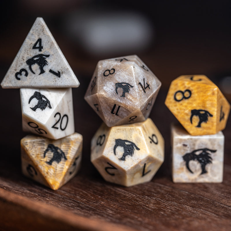 URWizards Dnd Coral Fossil Gemstone Engraved Dice Set Thunder Cat - Urwizards