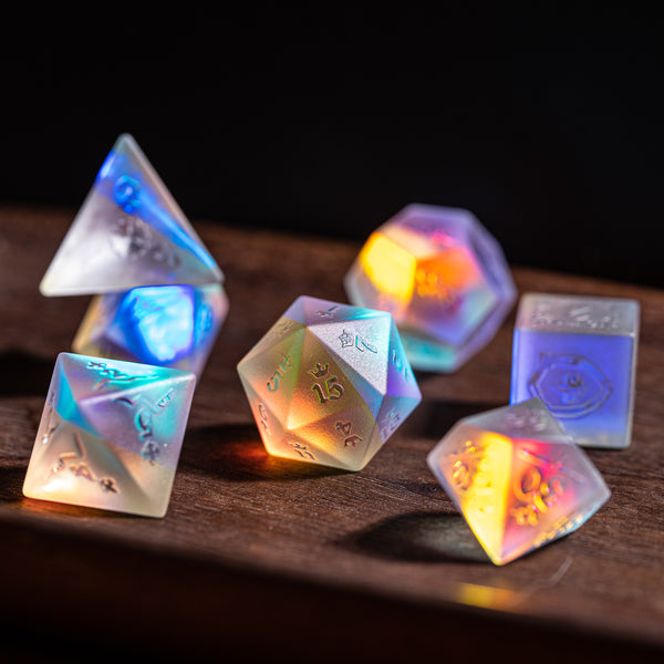 URWizards Dnd Dichroic Glass Raised Dice Set Royal Style - Urwizards