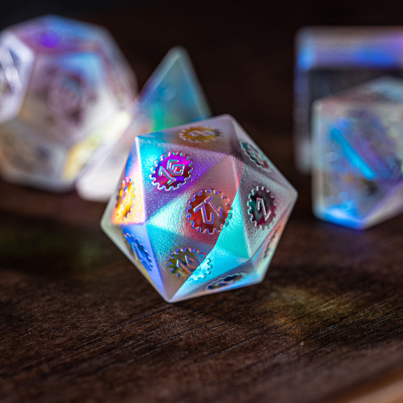 URWizards Dnd Dichroic Prism  Glass Raised Dice Set Artificer Gear - Urwizards