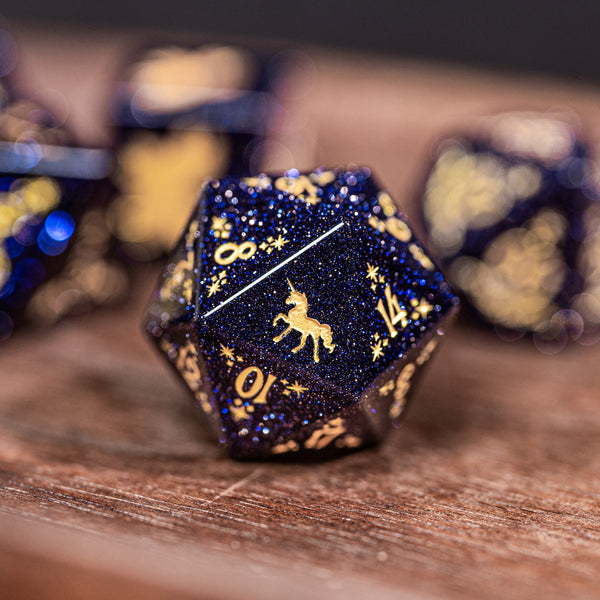 URWizards Dnd Blue Sandstone Engraved Dice Set Unicorn Style - Urwizards