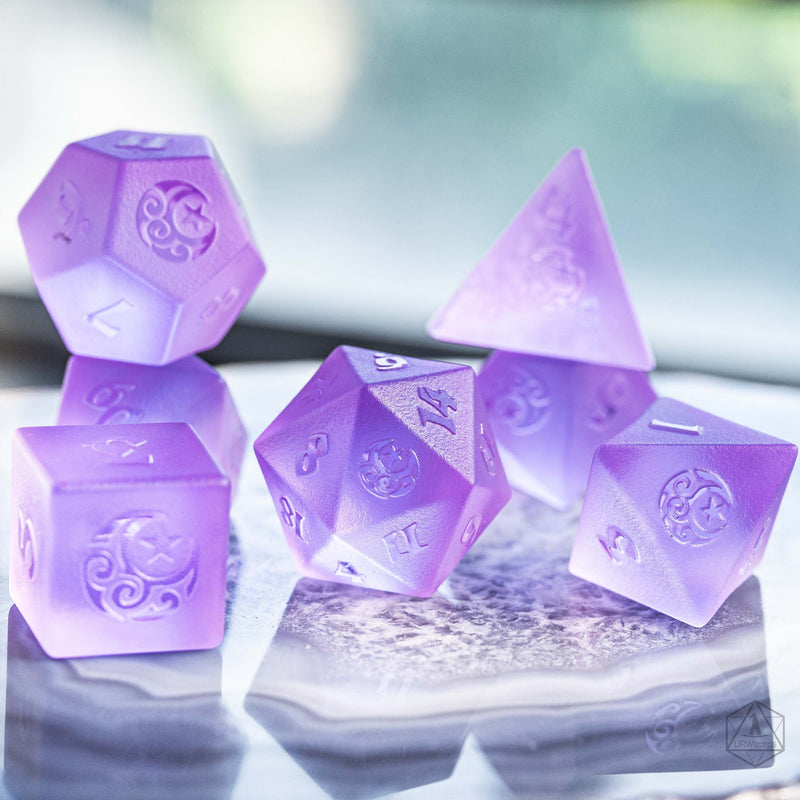 URWizards Dnd Purple Tourmaline Zircon Raised Dice Set Moon Star Style - Urwizards