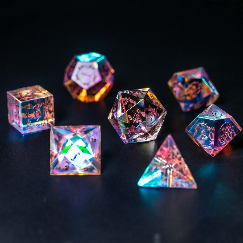 URWizards Dnd Dichroic Glass Engraved Dice Set Plant Vine Style Rose Red Inked - Urwizards