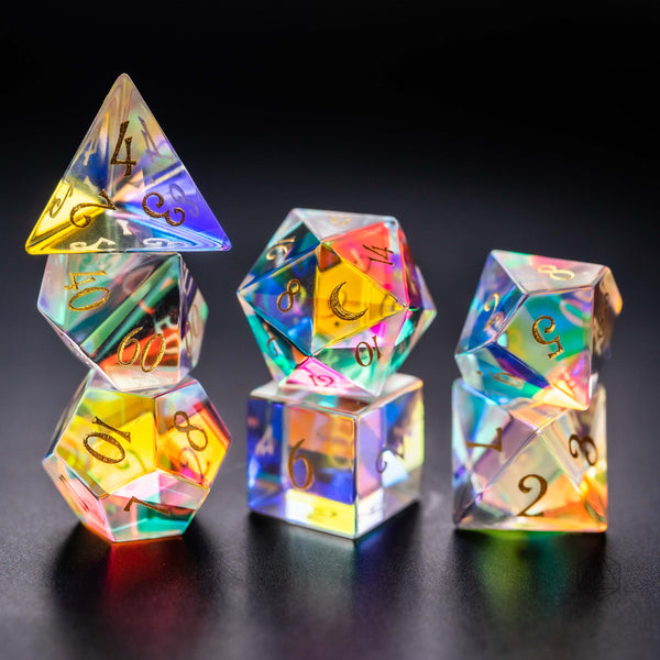 URWizards Dnd Dichroic Prism  Glass Gemstone Engraved Dice Set Moon Style - Urwizards
