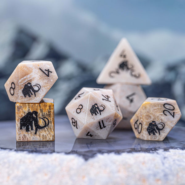 URWizards Dnd Coral Fossil Gemstone Engraved Dice Set Mammoth - Urwizards