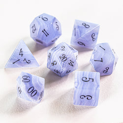 URWizards Dnd Blue Lace Agate Gemstone Engraved Dice Set - Urwizards