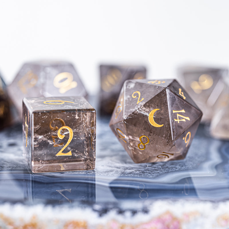 URWizards Dnd Smoky Quartz Gemstone Engraved Dice Set Moon Style - Urwizards