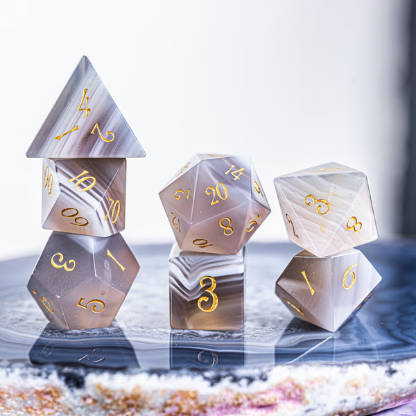 URWizards Dnd Grey Agate Gemstone Engraved Dice Set Moon Style - Urwizards