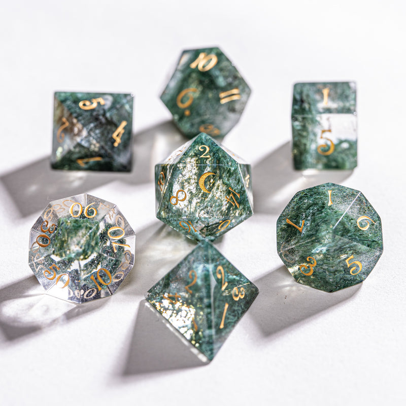 URWizards Dnd Moss Glass Engraved Dice Set Moon Style - Urwizards