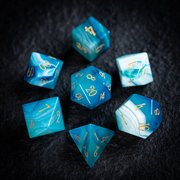 URWizards Dnd Blue Agate Gemstone Engraved Dice Set - Urwizards