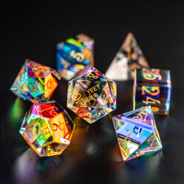 URWizards Dnd Dichroic Prism Glass Dice Set YEET & F*CK - Urwizards