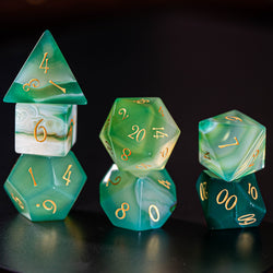 URWizards Dnd Green Agate Gemstone Engraved Dice Set - Urwizards