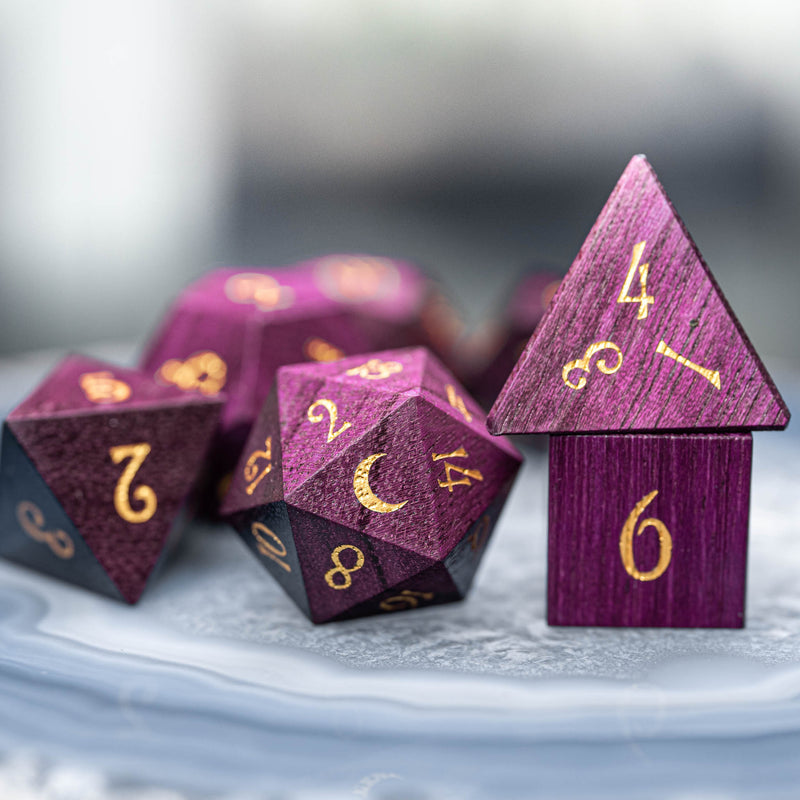 URWizards Dnd Purpleheart Wood Dice Set - Urwizards