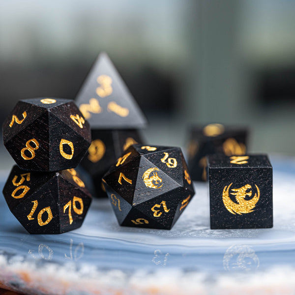 URWizards Dnd Ebony Wood Dice Set Dragon Style - Urwizards