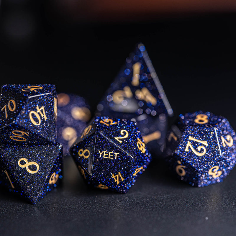 URWizards Dnd Blue Sandstone Engraved Dice Set YEET & F*CK - Urwizards